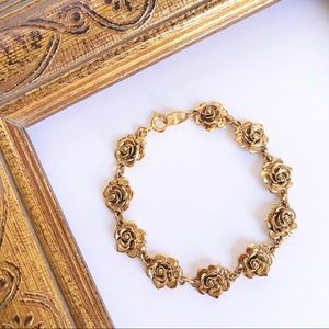 Vintage Avon Antique Gold Tone Rose Bracelet